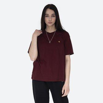 Carhartt WIP W S/S Chase T-Shirt I028900 BORDEAUX/GOLD