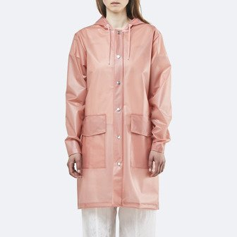 Rains Transparent Hooded Coat 1269 FOGGY CORAL