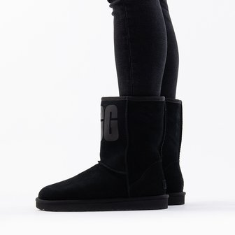 UGG W Classic Short Rubber Logo 1108230 BLK