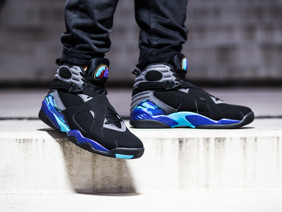 Men's Shoes sneakers Nike Air Jordan 8 Retro Aqua 305381 ...