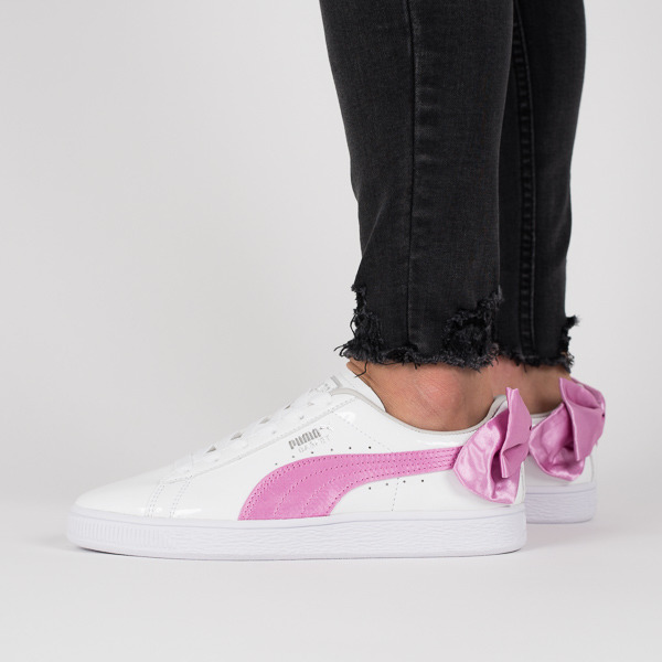 puma basket pink bow white trainers