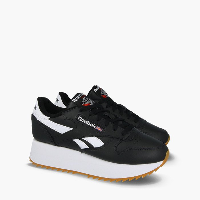 Reebok Reebok sneakers classical music leather double EF CL LTHR DOUBLE EF black white primal red (DV3631) primal red white crash where