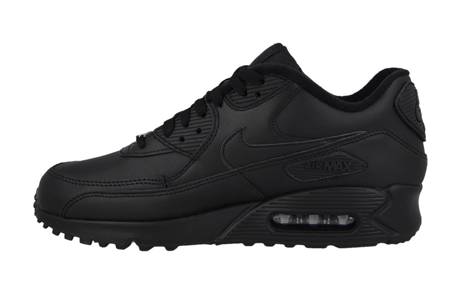 Men's Athletic Shoes NIKE AIR MAX 90 LEATHER ALL BLACK NEW
