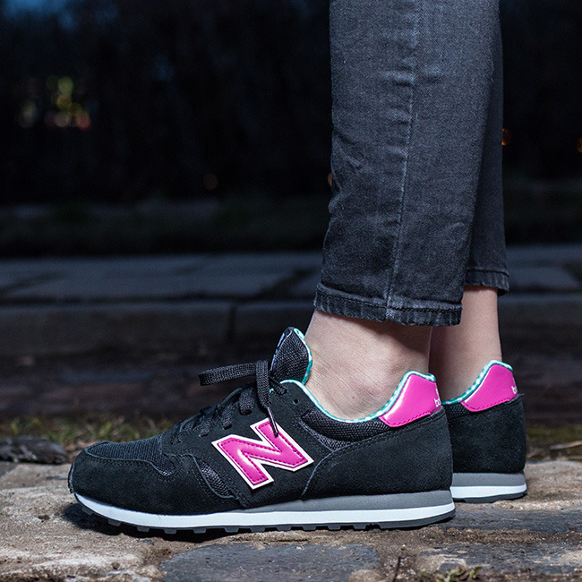new balance 373 womens black and pink