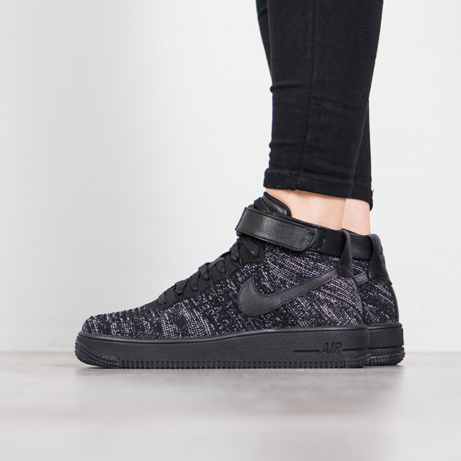 Nike Damen Air Force 1 Flyknit Weiß Schwarz 818018 101