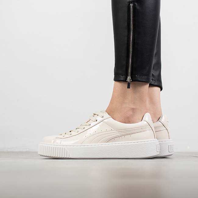 puma basket patent leather platform beige